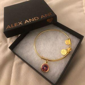 Alex and Ani Swarovski gold bangle with rose charm